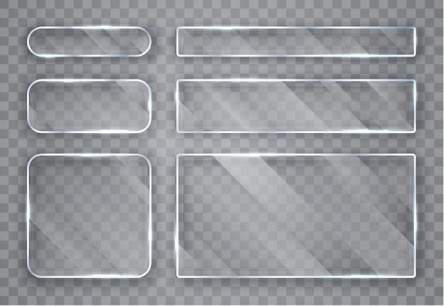 ガラスプレートセット。透明な背景にガラスのバナー。 Premiumベクター