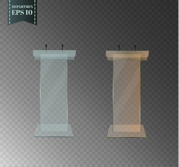 Glass podium. beautiful tribune is standing with a microphone on a transparent background.for performances and speeches. Premium Vector