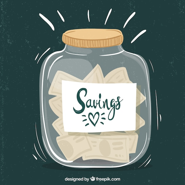 Glass pot full of money with flat design Free Vector