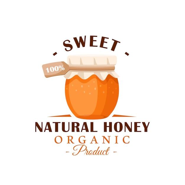 Стеклянный горшок с медом на белом фоне. этикетка меда, логотип, концепция эмблемы. иллюстрация Premium векторы