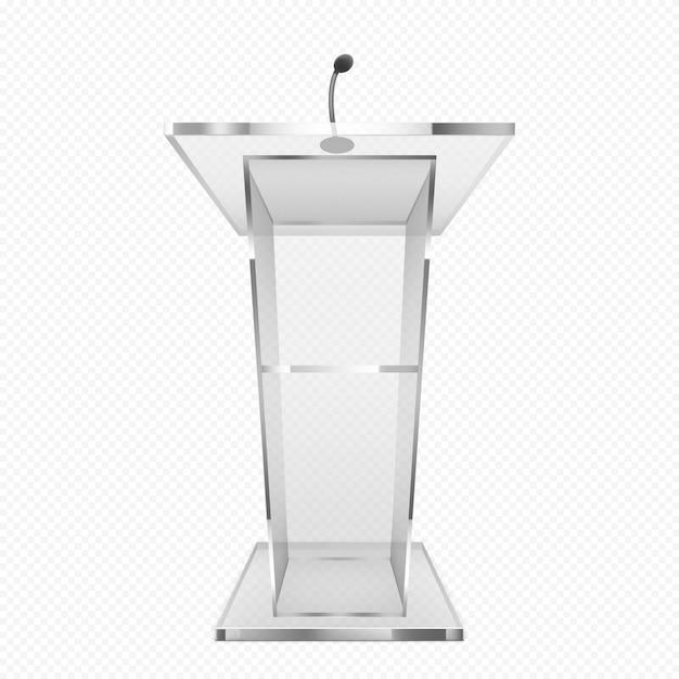 Glass pulpit, podium or tribune, rostrum stand Free Vector