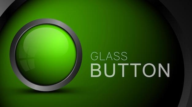 Glass realistic green button on green Premium Vector