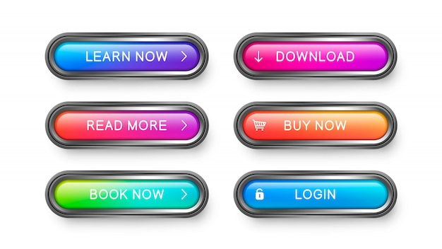 Glass rectangular buttons with rounded corners. Premium Vector
