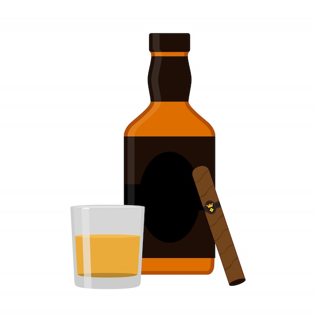 Glass of rum Premium Vector