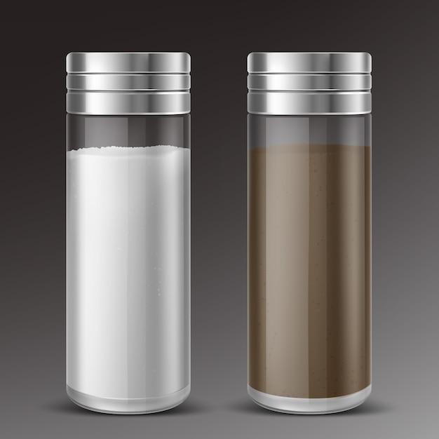 Agitatori di sale e pepe di vetro Vettore gratuito