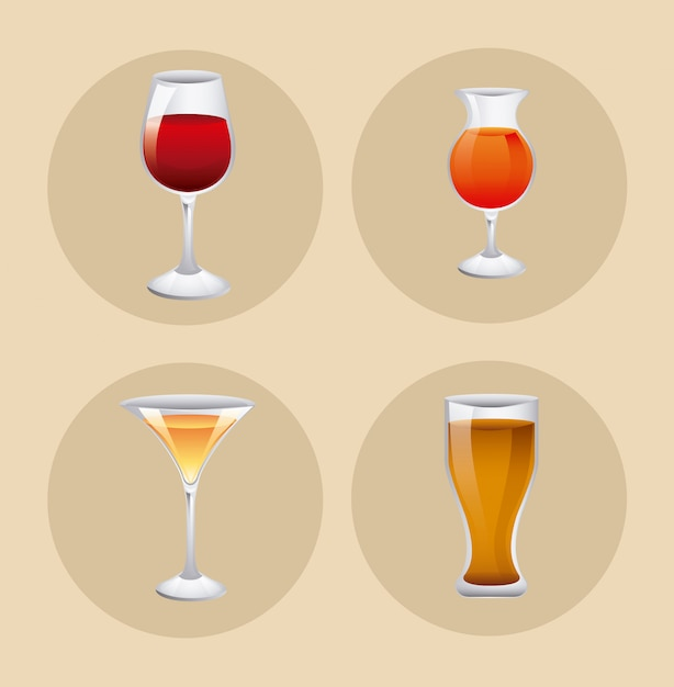 Glass set with drink Free Vector
