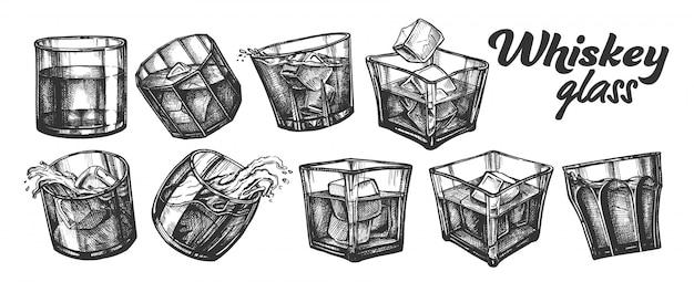 Коллекция классического ирландского виски glass set. Premium векторы
