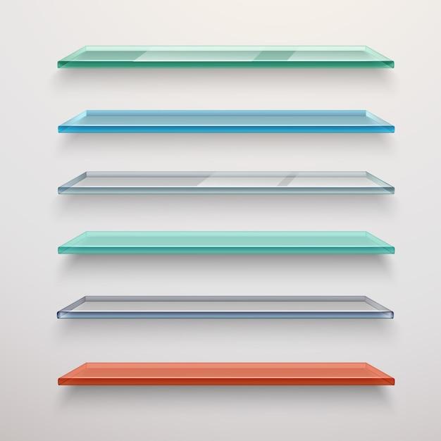 Набор стеклянных полок Бесплатные векторы