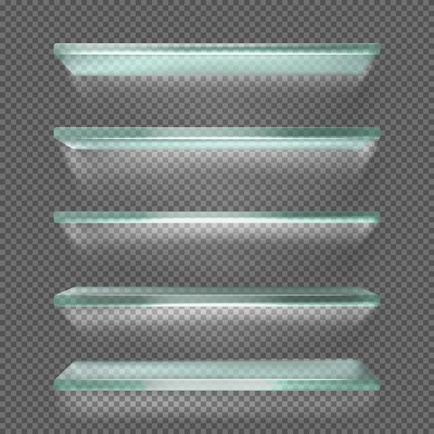 Стеклянные полки с подсветкой Бесплатные векторы