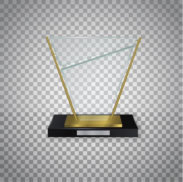 ガラスの光沢のあるトロフィー。賞のイラストのための光沢のある透明な賞。 Premiumベクター