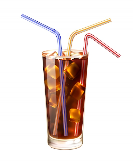 Glass and straws realistic illustration Free Vector