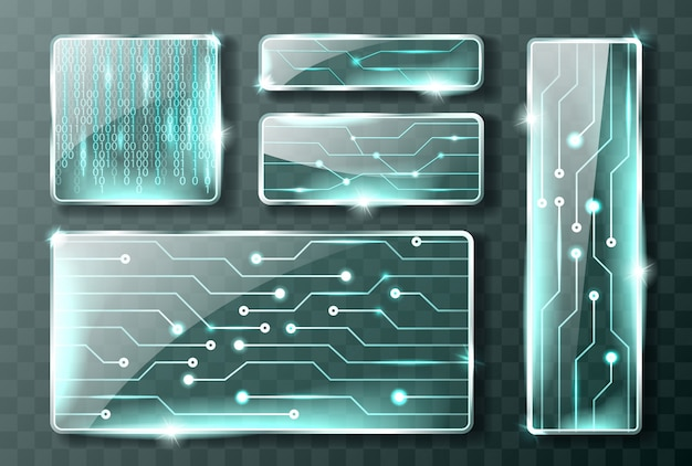 Glass technology banners Free Vector