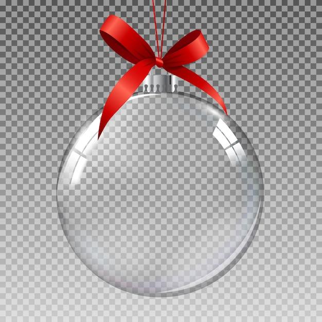 Glass transparent christmas ball with snow. Premium Vector