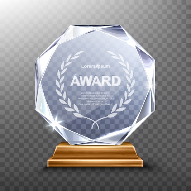 Glass trophy or acrylic winner award realistic Free Vector