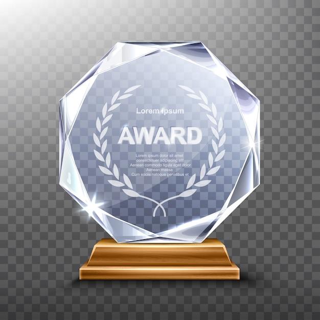 Vincitore del trofeo in vetro o del premio acrilico realistico Vettore gratuito