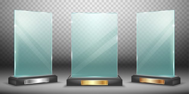 Glass trophy collection Free Vector