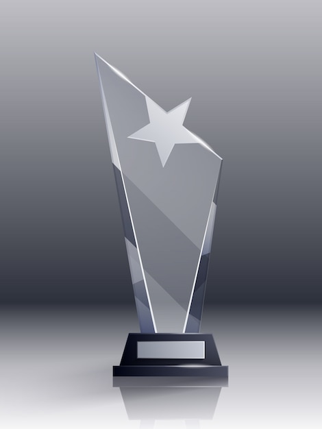 Glass trophy realistic concept with champion and leadership symbols Free Vector