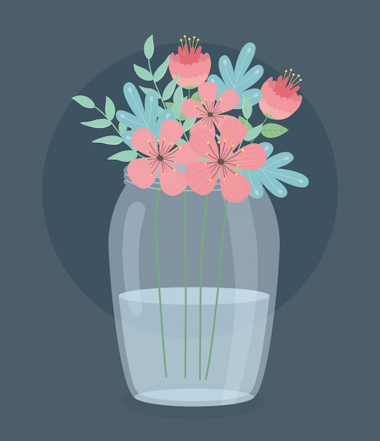Glass vase with flowers and leafs decoration Premium Vector