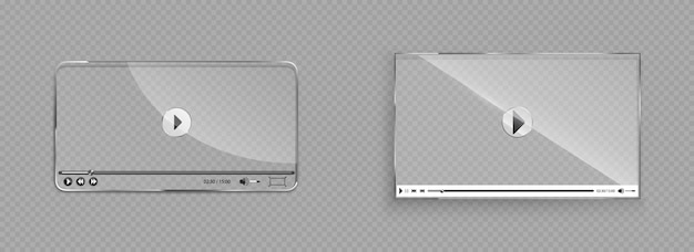 Стеклянный интерфейс видеоплеера, прозрачное окно Бесплатные векторы
