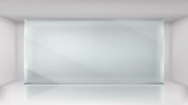 Glass wall frame in empty exhibition room background Free Vector