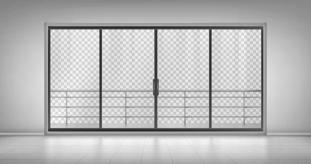 Glass window door with balcony railings Free Vector