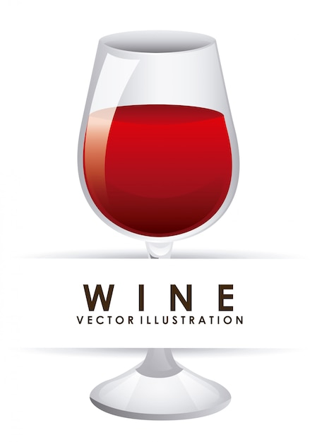 Glass of wine over white Free Vector