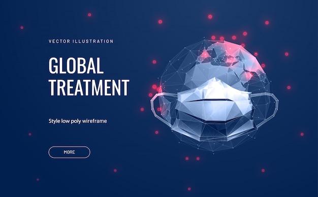Очки и маски на планете земля. концепция глобального загрязнения и распространения коронавируса covid-19. защита окружающей среды. Premium векторы