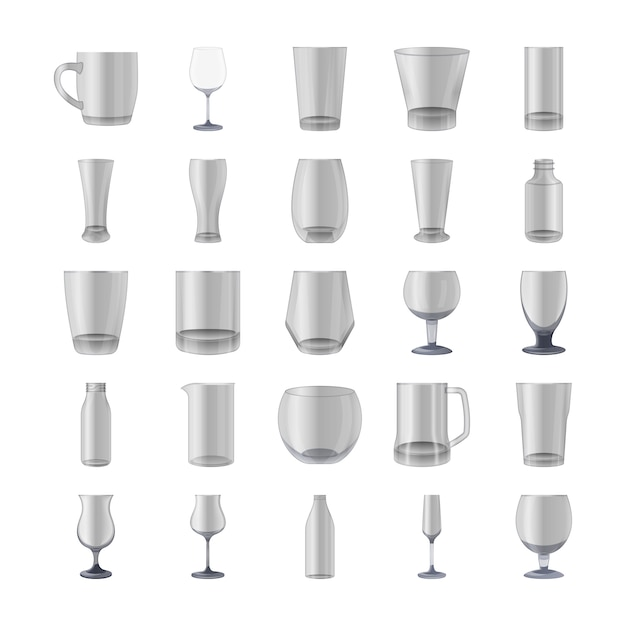 Glasses and bottles icons pack Premium Vector