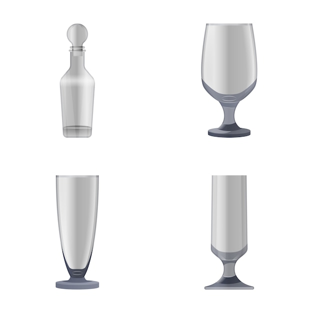 Glasses and bottles icons Premium Vector