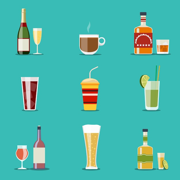 Glasses and bottles set Free Vector
