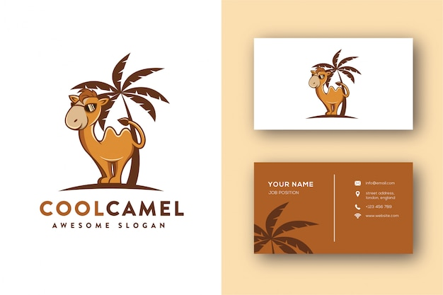 Glasses camel mascot logo and business card template Premium Vector
