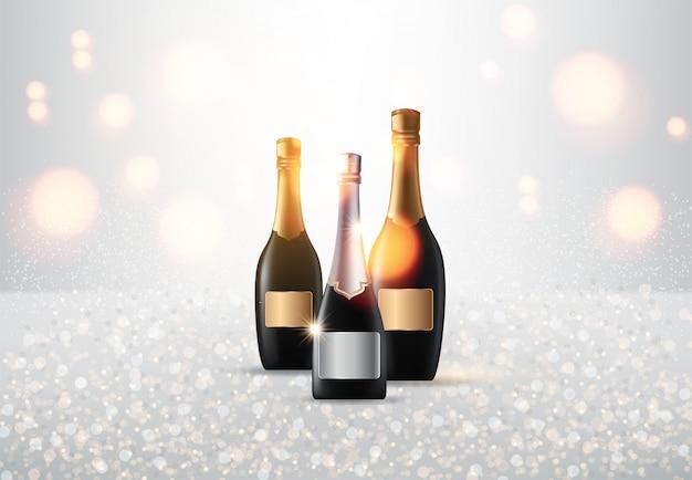 Glasses of champagne Premium Vector