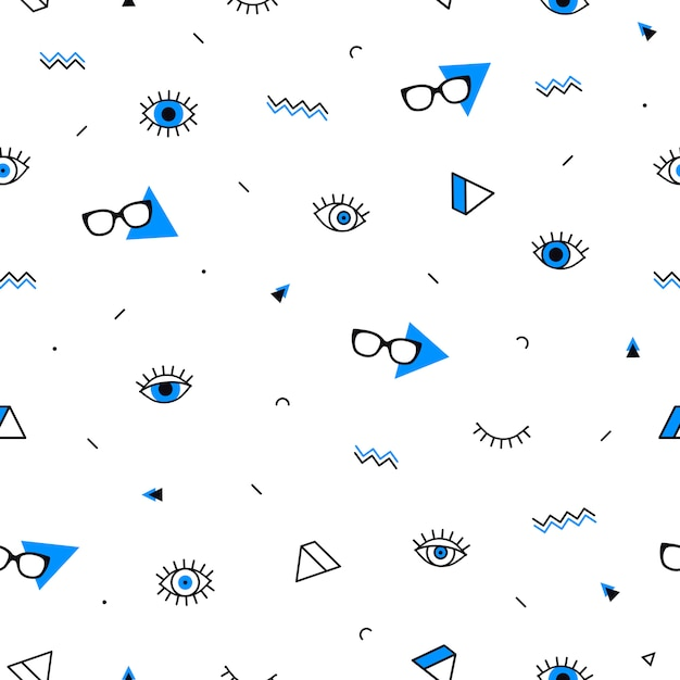 Glasses eyes seamless pattern with geometric shapes in memphis style. Premium Vector