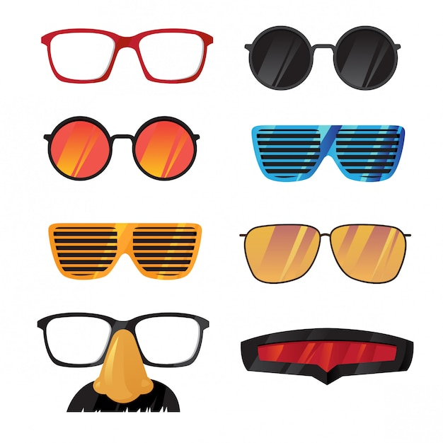 Glasses filter vector set Premium Vector