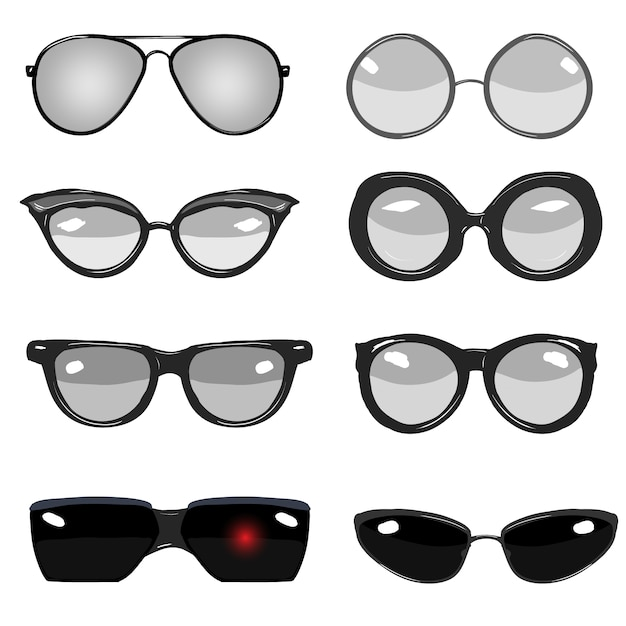 Glasses illustrations collection Free Vector