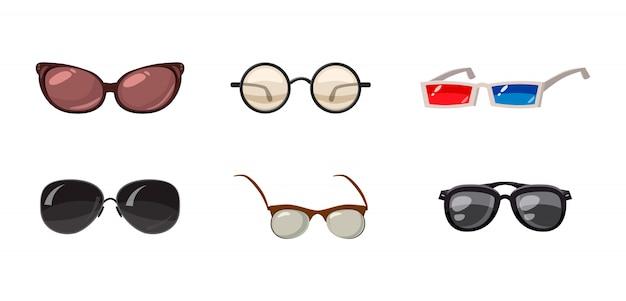 Glasses set. cartoon set of glasses Premium Vector