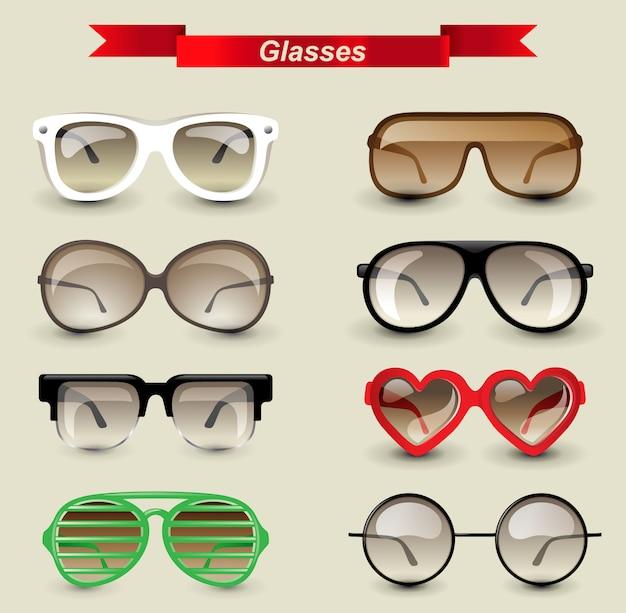 Glasses set Premium Vector