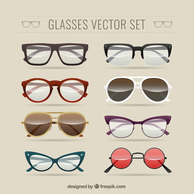 Glasses Frames Vector : Glasses set Vector Free Download