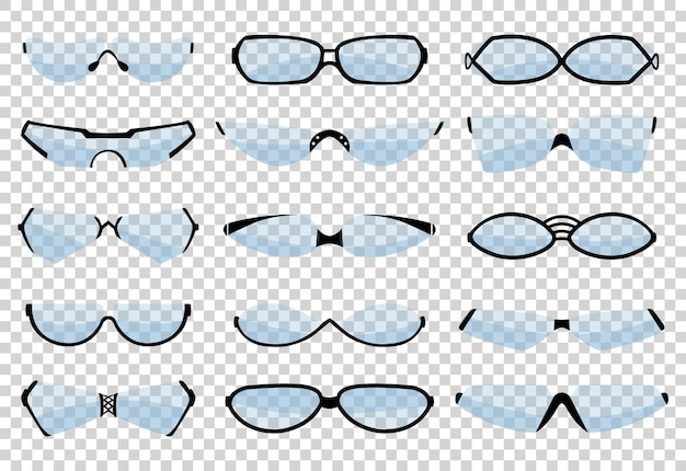 Glasses silhouette, eyewear and optical accessory. various shapes. Premium Vector