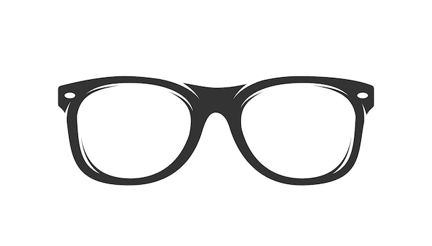 Glasses silhouette isolated on white background Premium Vector