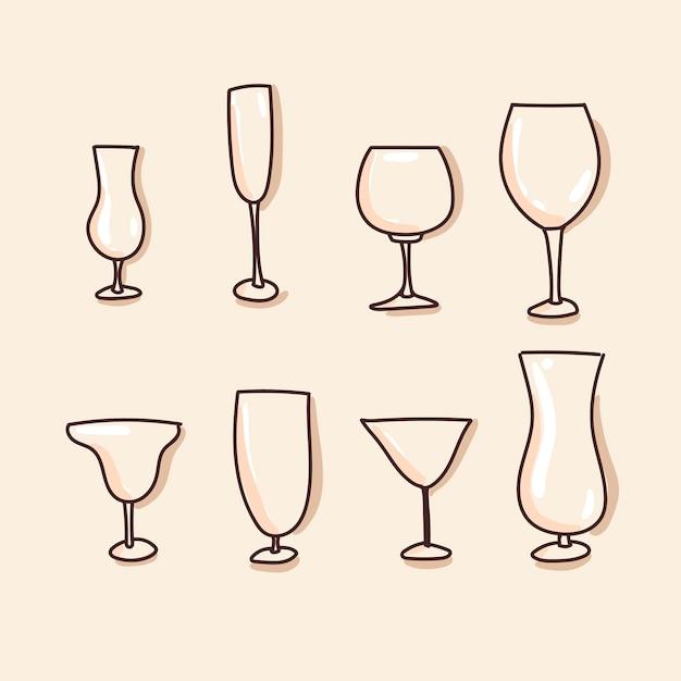 Glasses, tableware set of icon. hand draw Premium Vector