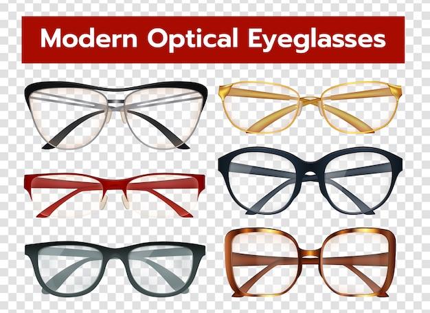 Glasses transparent set Free Vector
