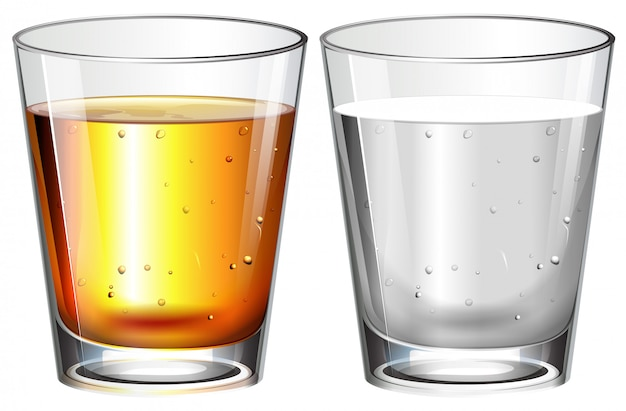 Glasses of water and whisky Free Vector