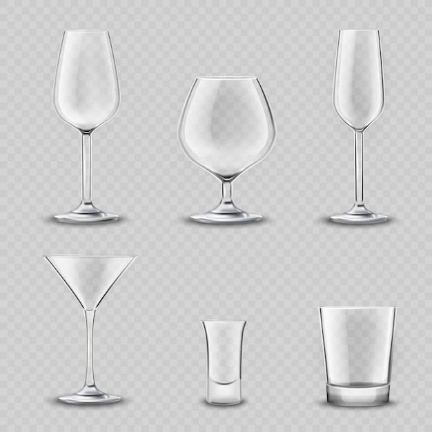 Glassware transparent set Free Vector