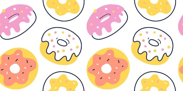 Glazed donut pattern, seamless Premium Vector