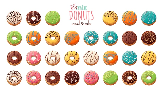 Glazed donuts decorated with toppings, chocolate, nuts. Premium Vector