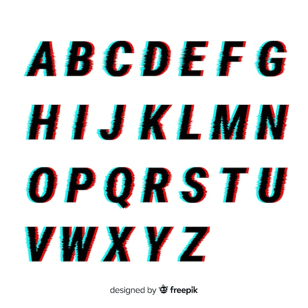 Glitch alphabet template Free Vector