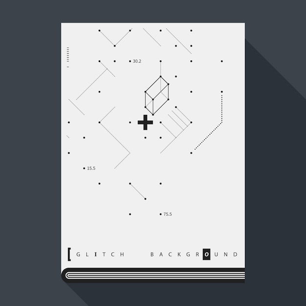 Glitch book cover/poster design template with simple ...