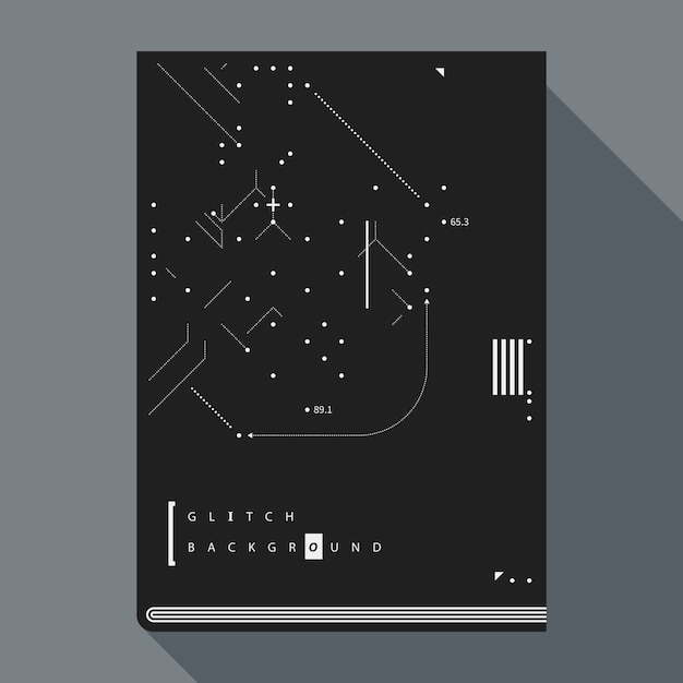 Обложка книги с надписью glitch / плакат с простыми геометрическими элементами дизайна. Premium векторы