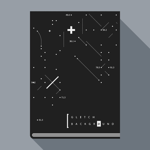 Шаблон дизайна плаката с книгами glitch с простыми геометрическими элементами дизайна Premium векторы